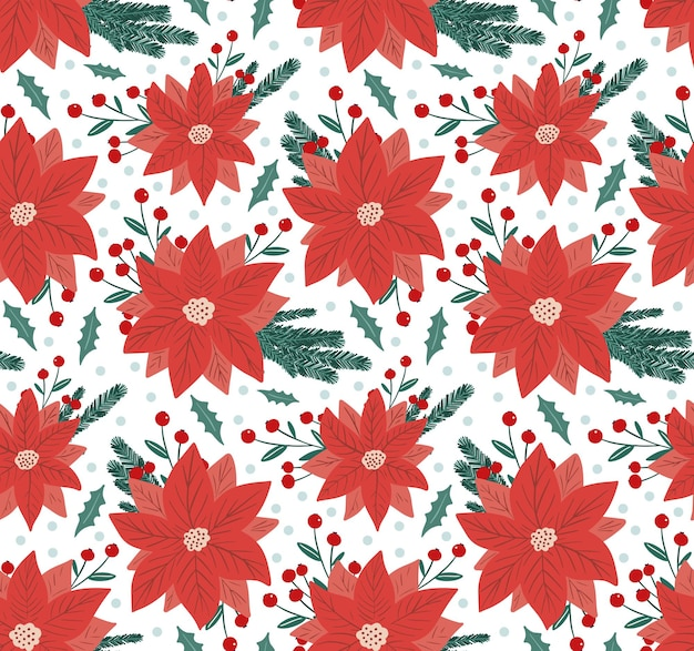 Beautiful winter season floral seamless pattern background with poinsettia  red christmas flower