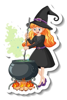 Beautiful witch cartoon character sticker