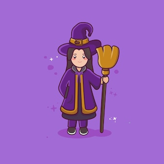 Beautiful witch holding broom with flat cartoon style