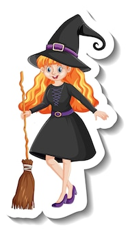 빗자루 만화 캐릭터 스티커를 들고 아름 다운 마녀