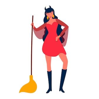 할로윈을 위한 빗자루 디자인이 있는 아름다운 마녀