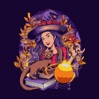 Beautiful witch with a fox