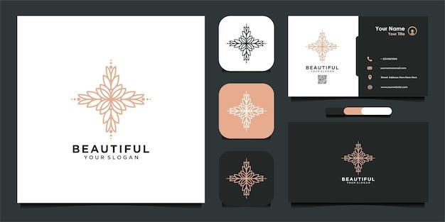 Красивый с цветочным шаблоном дизайна логотипа и визитной карточкой премиум векторы