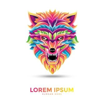 美しいオオカミのロゴのテンプレートデザイン