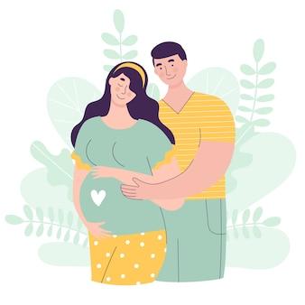 아름다운 여자와 남자는 아기를 기대