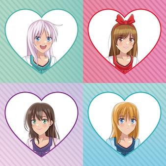 Beautiful woman anime faces