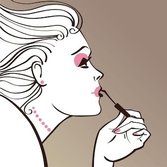 化粧をしている美しい女性