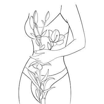 Beautiful woman body with lily flower, line art. concept of body care. - vector illustration