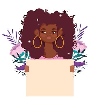 Красивая женщина мультипликационный портрет держит пустую доску