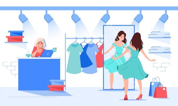 Красивая женщина, выбирая платье в модном магазине