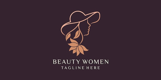 Beautiful woman combination of woman wearing hat logo design template premium vector icons