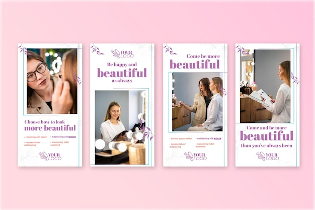 Beautiful woman cosmetic instagram stories template