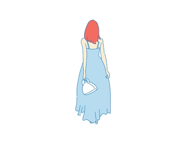 Beautiful woman cute girl standing behind , backside view of person , vector