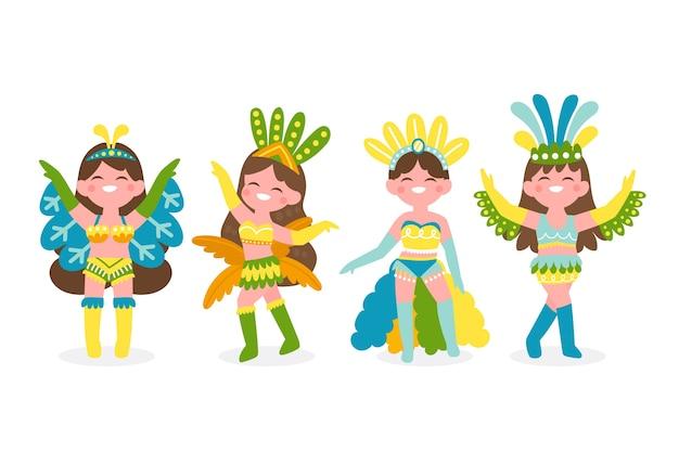 Ballerini di bella donna vestita in abiti colorati