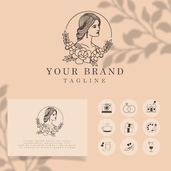 Красивые женщины элегантная линия арт логотип редактируемый шаблон