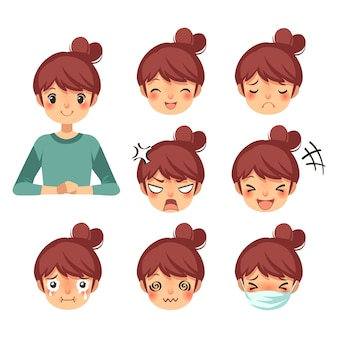 Beautiful woman and expression cartoon