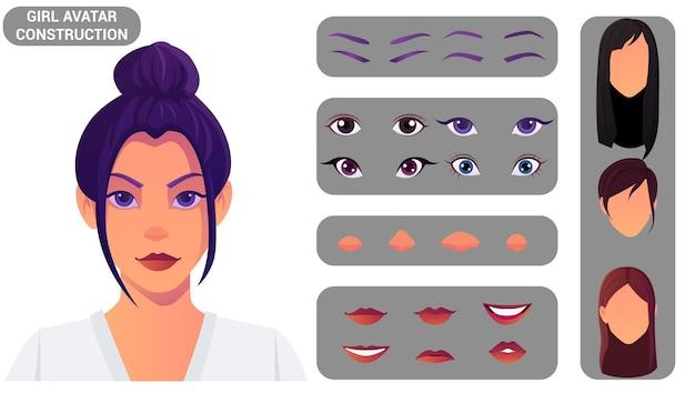 美しい女性の顔と頭の建設女性のアバターは、目、鼻、口、眉毛の頭と髪型のセットで構築します