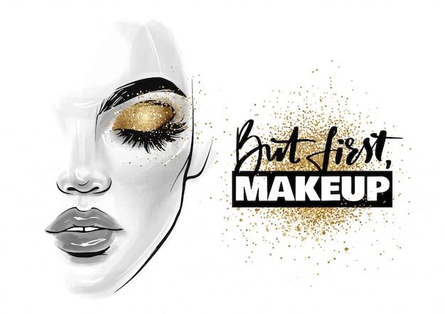 Красивое женское лицо. портрет девушки с черными ресницами, бровями и фразой но сначала макияж