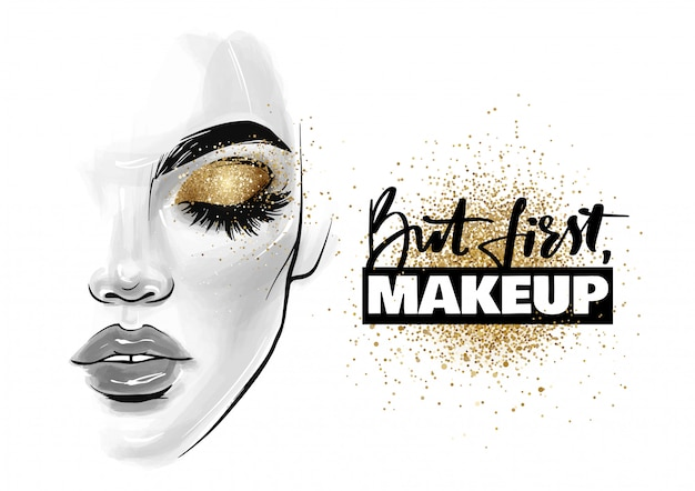 Beautiful woman face. girl portrait with black lashes, brows and phrase but first, makeup