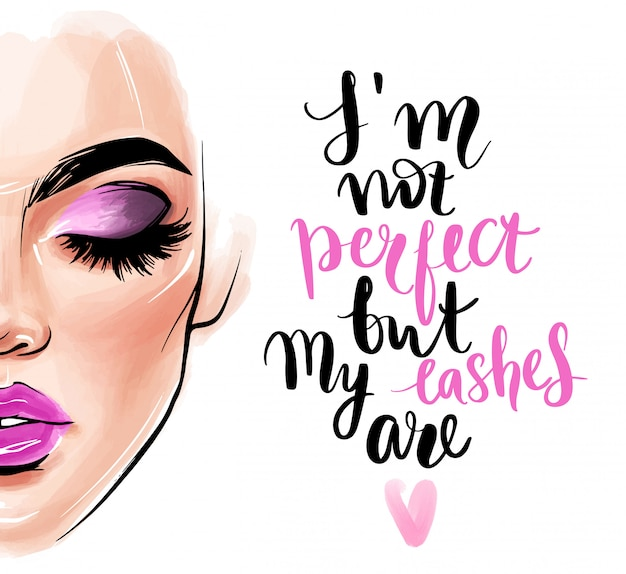 Beautiful woman face and quote about lashes.
