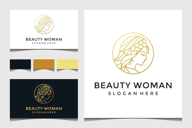 Beautiful woman face with line art and gold style logo