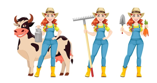 세 가지 포즈의 아름다운 여성 농부 세트 귀여운 소녀 농부 만화 캐릭터