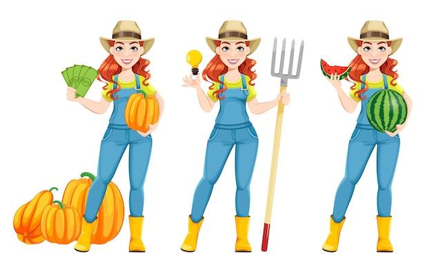 아름 다운 여자 농부, 세 가지 포즈의 집합입니다. 귀여운 소녀 농부 만화 캐릭터