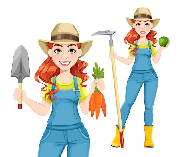 2つのポーズの漫画のキャラクターの美しい女性農家セット