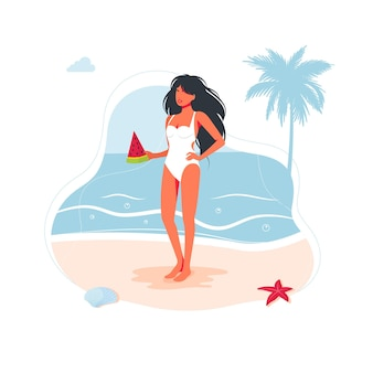 Beautiful woman girl on the beach in a swimsuit and with a slice of watermelon in her hand by the sea on the sand. sea beach people traveling banner, summer holidays symbol. vector illustration