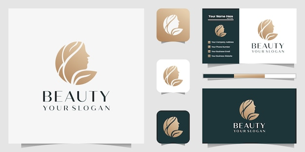 Beautiful woman hair salon gold gradient logo  and business card