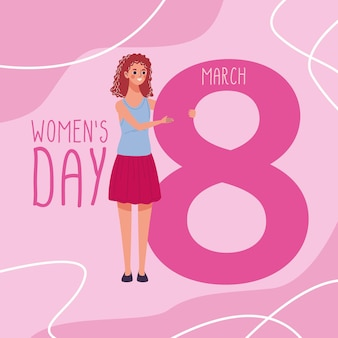 Beautiful woman happy lifting number eight and womens day lettering  illustration