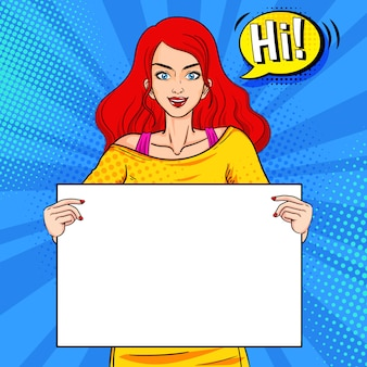 Beautiful woman hold white board pop art
