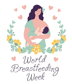 Красивая женщина держит открытку ребенка мир грудного вскармливания концепция счастливого материнства