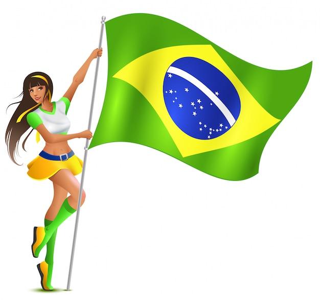 Красивая женщина держит флаг бразилии. футбольный фанат