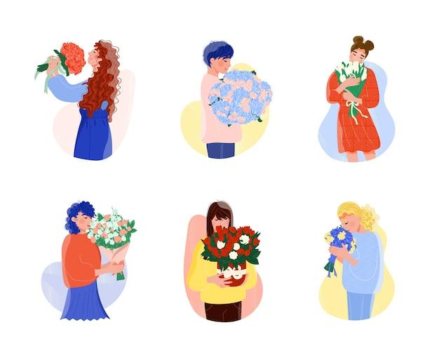花の花束ロマンチックなプレゼントセットを保持している美しい女性。白い背景で隔離花の束ホリデーギフトベクトルイラストと漫画の若い幸せな笑顔の女性キャラクター
