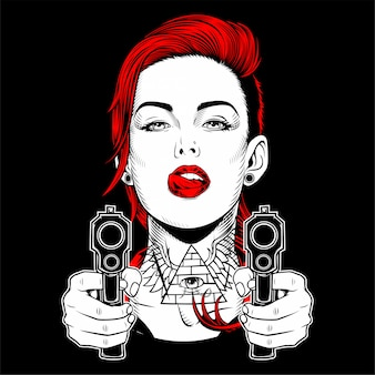 Beautiful woman holding a gun hand drawing
