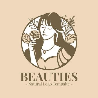 Красивая женщина держит розу логотип шаблон