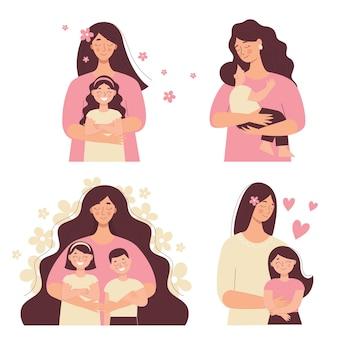 아름다운 여성은 아기를 팔에 안고 있고, 엄마는 아이들을 안고 있습니다. 어머니의 날, 여성의 날. 흰색 배경에 고립 된 평면 벡터 사람들의 집합