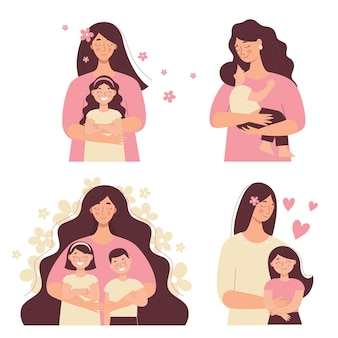 Beautiful woman holds a baby in her arms, mom hugs her children. mother's day, women's day. set of flat vector people isolated on white background