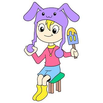토끼 의상을 입은 아름다운 여성이 앉아서 맛있는 아이스크림, 벡터 일러스트레이션 예술을 즐기고 있었습니다. 낙서 아이콘 이미지 귀엽다.