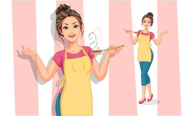 Красивая женщина в кулинарии фартук держит иллюстрацию ложкой