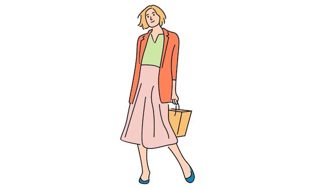 スタイリッシュな服を着た美しい女性