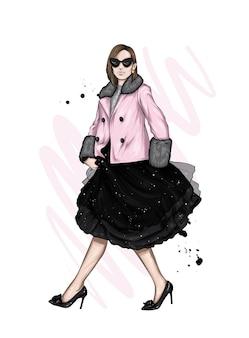 세련 된 드레스와 재킷에 아름 다운 여자
