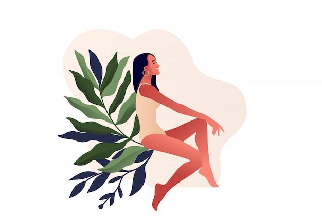 수영복에서 아름 다운 여자입니다. 신체 디자인, 란제리 디자인, 수영복 상점, 미용, 클리닉 일러스트레이션