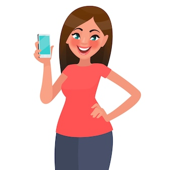 美しい女性は、スマートフォンを保持しています。漫画のスタイルの図