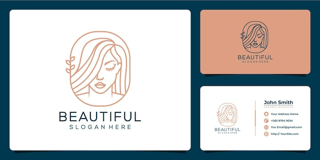 Красивая женщина логотип и визитная карточка