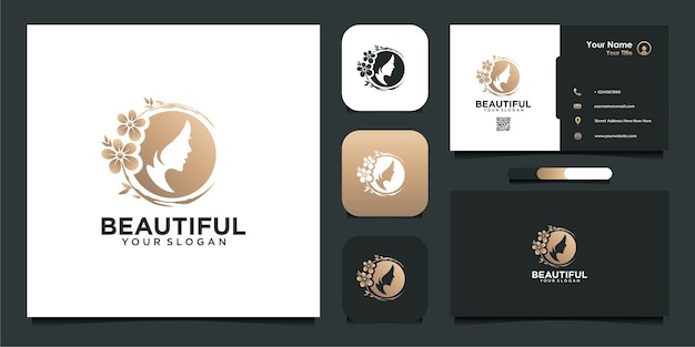 Beautiful woman logo inspiration with flowers and business card