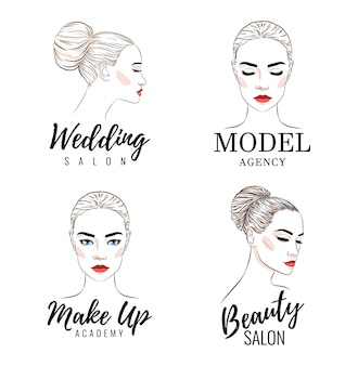 Beautiful woman logo set, model academy logo,