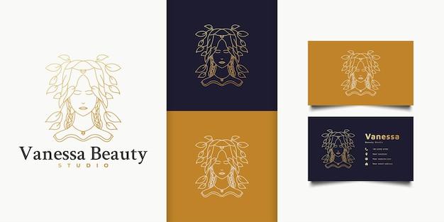 ファッション、サロン、化粧品、またはビューティースタジオのロゴのゴールドグラデーションと線形の概念で髪に葉を持つ美しい女性のロゴ