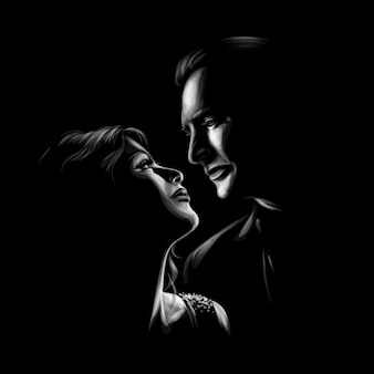 Beautiful woman and man kissing and look at each other. romantic couple in love.  illustration